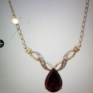 Necklace Garnet diamonds